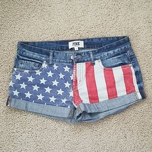 Pink victorias secret american flag shorts